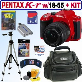 Pentax K-r 12.4 MP Digital SLR Camera with 18-55mm f/3.5-5.6 Lens (Red) + 16GB Deluxe Accessory Kit