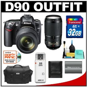 Nikon D90 Digital SLR Camera Body & 18-105mm DX VR AF-S & 70-300mm VR Zoom Lens with 32GB Card + Case + Nikon Battery + Accessory Kit