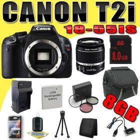 Canon EOS Rebel T2i 18 MP CMOS APS-C Digital SLR Camera w/ EF-S 18-55mm f/3.5-5.6 IS Lens DavisMAX LPE8 Battery/Charger Filter Kit 8GB Bundle