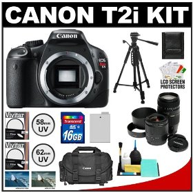 Canon EOS Rebel T2i Digital SLR Camera + Tamron 28-80mm & 70-300mm Lenses + 16GB Card + Battery + Canon 2400 DSLR Gadget Bag Case + Tripod + UV Filters
