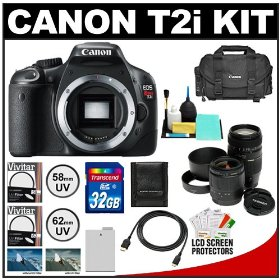 Canon EOS Rebel T2i Digital SLR Camera + Tamron 28-80mm & 70-300mm Lenses + 32GB Card + Battery + Canon 2400 DSLR Gadget Bag Case + UV Filters