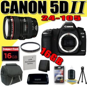 Canon EOS 5D Mark II 21.1MP Digital SLR Camera w/ EF 24-105mm f/4 L IS USM Lens DavisMAX LPE6 Battery UV 16GB Bundle