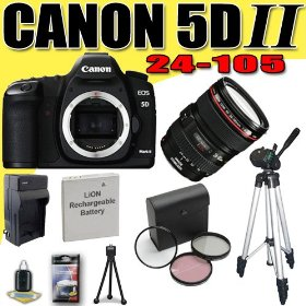 Canon EOS 5D Mark II 21.1MP Digital SLR Camera w/ EF 24-105mm f/4 L IS USM Lens DavisMAX LPE6 Battery/Charger Filter Kit Tripod Bundle
