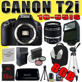 Canon EOS Rebel T2i 18 MP CMOS APS-C Digital SLR Camera w/ EF-S 18-55mm f/3.5-5.6 IS Lens DavisMAX LPE8 Battery/Charger Filter Kit External Flash Tripod 8GB Backpack Bundle