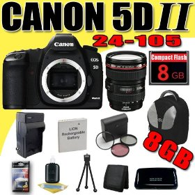 Canon EOS 5D Mark II 21.1MP Digital SLR Camera w/ EF 24-105mm f/4 L IS USM Lens DavisMAX LPE6 Battery/Charger Filter Kit 8GB deluxe BackPack Bundle