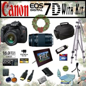 Canon EOS 7D 18.0 MP Digital SLR Full HD Camera Extreme Starter Holiday Kit with EF 28-135mm f/3.5-5.6 IS USM, EF 75-300mm f/4-5.6 III, Opteka 7