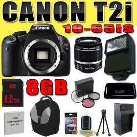 Canon EOS Rebel T2i 18 MP CMOS APS-C Digital SLR Camera w/ EF-S 18-55mm f/3.5-5.6 IS Lens DavisMAX LPE8 Battery/Charger Filter Kit External Flash 8GB Backpack Bundle