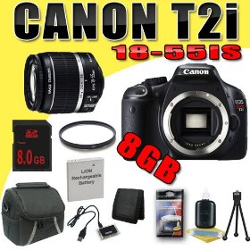 Canon EOS Rebel T2i 18 MP CMOS APS-C Digital SLR Camera w/ EF-S 18-55mm f/3.5-5.6 IS Lens DavisMAX LPE8 Battery UV 8GB Bundle