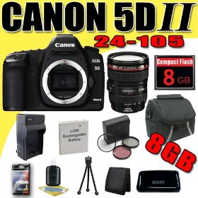 Canon EOS 5D Mark II 21.1MP Digital SLR Camera w/ EF 24-105mm f/4 L IS USM Lens DavisMAX LPE6 Battery/Charger Filter Kit 8GB Bundle