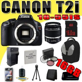 Canon EOS Rebel T2i 18 MP CMOS APS-C Digital SLR Camera w/ EF-S 18-55mm f/3.5-5.6 IS Lens DavisMAX LPE8 Battery/Charger Filter Kit 16GB Backpack Bundle