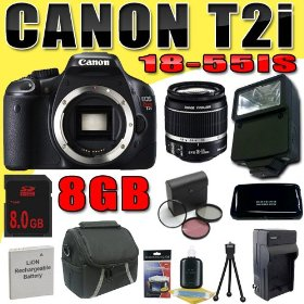 Canon EOS Rebel T2i 18 MP CMOS APS-C Digital SLR Camera w/ EF-S 18-55mm f/3.5-5.6 IS Lens DavisMAX LPE8 Battery/Charger Filter Kit Flash 8GB Bundle