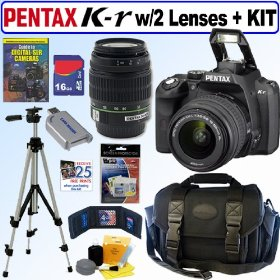 Pentax K-r 12.4 MP Digital SLR Camera with 18-55mm f/3.5-5.6 Lens and 50-200mm f/4-5.6 SMCP-DA ED Zoom Lens (Black) + 16GB Deluxe Accessory Kit