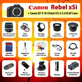 Canon EOS Rebel xSi Digital SLR + 18-55mm Lens + 3.5x Telephoto Lens + 0.40 Fish-Eye Lens + Filter Kit + 8GB SD + Card Reader + 2 Extra Batteries + Case + Mini HDMI Cable + Tripod + Monopod + Starter Kit + MORE!