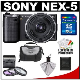 Sony Alpha NEX-5 Digital Camera Body & E 16mm f/2.8 Compact Interchangeable Lens (Black) with 16GB Card + Battery + Case + Accessory Kit