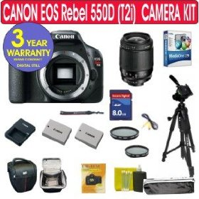 Canon EOS 550D (T2i) 18 MP Digital SLR Camera + Tamron 28-80mm Zoom Lens + UV Filter + PL Filter + High Speed 4 GIG Memory Card + Extra High Capacity Battery + Holster Case + 11 Piece Camera Kit + 3 Year Celltime Warranty Repair Package