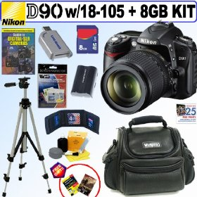 Nikon D90 - Digital camera - SLR - 12.3 Mpix - Nikon AF-S DX 18-105mm lens - optical zoom: 5.8 x - supported memory: SD, SDHC