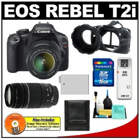 Canon EOS Rebel T2i 18.0MP Digital SLR Camera & EF-S 18-55mm IS & EF 75-300mm III Zoom Lens with 16GB Card + Battery + Camera Armor Case + Accessory Kit