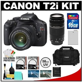 Canon EOS Rebel T2i Digital SLR Camera Body & EF-S 18-55mm IS Lens (Black) with 75-300mm III Lens + 16GB Card + Battery + 2400 Case + Filters + Accessory Kit
