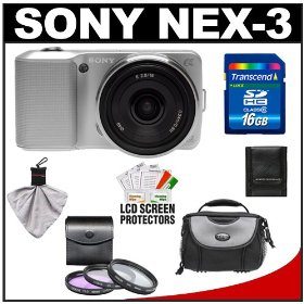 Sony Alpha NEX-3 Digital Camera Body & E 16mm f/2.8 Compact Interchangeable Lens (Silver) with 16GB Card + Battery + Case + Accessory Kit