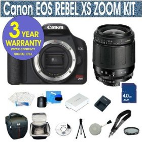 Canon Rebel XS 10.1 MP Digital SLR Camera with Tamron 28-80mm Zoom Lens + UV Filter + 4 GIG Memory Card + Holster Case + 6 Piece Starter Kit +3 Year Celltime Warranty Repair Package