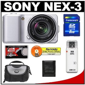 Sony Alpha NEX-3 Digital Camera Body & E 18-55mm OSS Compact Interchangeable Lens (Silver) with 8GB Card + Battery + Case + Accessory Kit