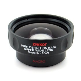Zykkor 0.45x HD Platinum Pro Super Wide Angle 52mm/58mm Lens with Macro - Black - Made in Japan