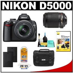 Nikon D5000 Digital SLR Camera w/ 18-55mm VR Lens + 55-200mm VR Zoom Lens + Two (2) Spare EN-EL9 Batteries + Case + LCD Protectors + Cleaning Kit