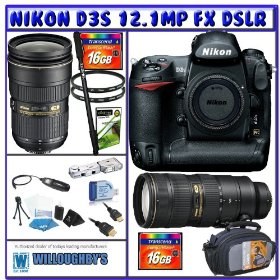 Nikon D3S Digital SLR (Camera Body) + Nikon 24-70mm Lens + Nikon 70-200mm VR II Lens + Power & Precision Bundle
