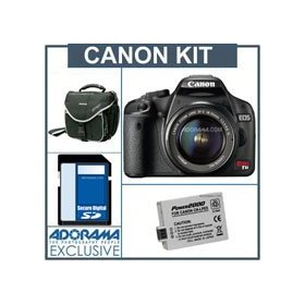 Canon EOS Rebel T1i EF-S Digital SLR Camera/ Lens Kit - Black- w/18-55mm Lens - Refurbished - with 4GB SD Memory Card, Spare LP-E5 Lithium-Ion Rechargeable Battery, Slinger Camera Bag