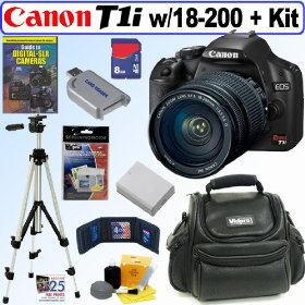Canon EOS Rebel T1i 15.1 MP CMOS Digital SLR Camera with EF-S 18-200mm f/3.5-5.6 IS Standard Zoom Lens + 8GB Deluxe Accessory Kit