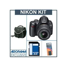 Nikon D5000 DX-Format 12.3 Megapixel Digital SLR Camera/Lens Kit with 18mm - 55mm f/3.5-5.6G AF-S DX (VR) Lens, with 4GB SD Memory Card, Spare EN-EL9 Lithium-Ion Rechargeable Battery, Camera System Bag