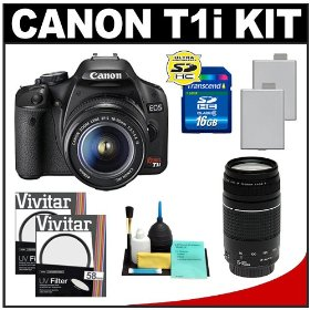 Canon EOS Rebel T1i 15.1MP Digital SLR Camera (Black) with EF-S 18-55mm IS & EF 75-300mm III Lens + (2) UV Filters + 16GB Card + (2) Batteries + Cameta Bonus Accessory Kit