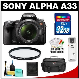 Sony Alpha A33 SLTA33L 14.2 MP Translucent Mirror Technology Digital SLR Camera & 18-55mm Lens with 32GB Card + Case + UV Filter + Cleaning & Accessory Kit