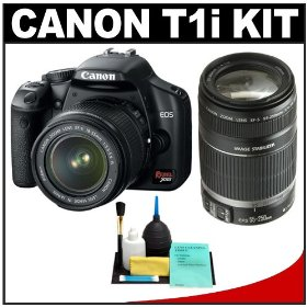 Canon EOS Rebel T1i 15.1MP Digital SLR Camera (Black) with EF-S 18-55mm IS Lens & 55-250mm IS Lens + Cameta Bonus Cleaning Kit