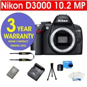Nikon D3000 10.2 MP Digital SLR Camera Body + 6 Piece Digital Camera Accessory Kit + 3 Year Extended Warranty Repair Contract
