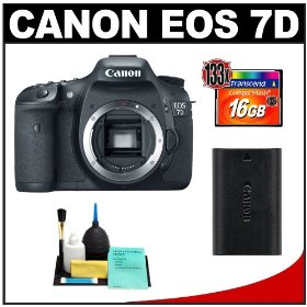 Canon EOS 7D Digital SLR Camera Body + 16GB Card + Canon LP-E6 Battery + Cleaning Kit