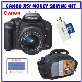 Canon EOS Rebel XSi (a.k.a. 450D) SLR Digital Camera Kit (Black) EF-S 18-55mm f/3.5-5.6 IS Lens (Black) + Transcend 8GB SDHC6 Memory Card w/ Reader + Digital Camera Gadget Bag (Black)
