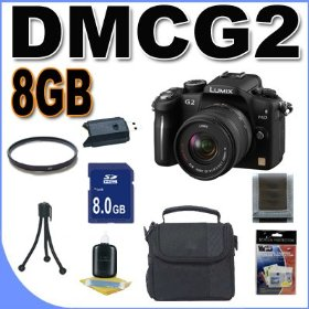 Panasonic Lumix DMC-G2 12.1 MP Live MOS Interchangeable Lens Camera with 3-Inch Touch Screen LCD and 14-42mm Lumix G VARIO f/3.5-5.6 MEGA OIS Lens (Black) BigVALUEInc Accessory Saver 8GB Bundle