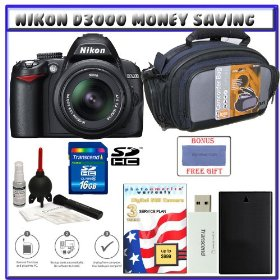 Nikon D3000 10MP Digital SLR Camera w/ 18-55mm f/3.5-5.6G AF-S DX VR Nikkor Zoom Lens w/ Two (2) Transcend 8GB SDHC Card + 3-Year Extended Warranty for Nikon D Series + EN-EL9a Battery + Case + Accessory Kit