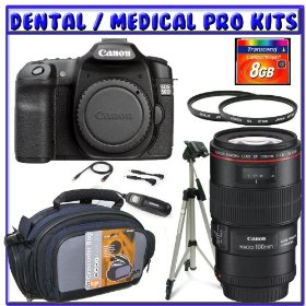 Canon EOS 50D 15.1 MP Digital Camera SLR + Canon EF-S 18-55mm f/3.5-5.6 IS Lens + Canon EF 100mm f/2.8L IS USM Lens + Canon MR-14EX Macro Ring Lite + 8GB SDHC + Tripod + Dental/Medical Package