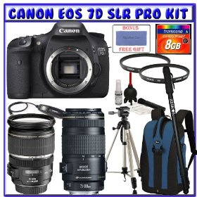 Canon EOS 7D SLR Digital Camera (Body Only) [3814B004] + Canon EF-S 17-55mm f/2.8 IS USM Lens [1242B002] + Canon EF 70-300mm f/4-5.6 IS USM Lens [0345B002] + 8GB CF + Pro EOS Accessory Bundle Pack