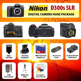 Nikon D300s Digital SLR Camera Body + 2 Extended Life Batteries + Battery Charger + 8 GB Memory Card + Card Reader + Tripod + Carrying Case + Starter Kit + Digital Flash and more!!