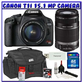 Canon EOS Rebel T1i 15.1 MP Digital SLR w/ Canon EF-S 18-55mm IS Lens & Canon EF-S 55-250mm IS Lens + Canon Battery + Canon Bag + 16GB + Deluxe Accessory Package K#7