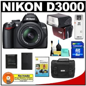 Nikon D3000 10MP Digital SLR Camera with 18-55mm f/3.5-5.6G AF-S DX VR Nikkor Zoom Lens with Sunpak PF30X Flash + 8GB Card + EN-EL9a Battery + Nikon Gadget Bag + Nikon School DVD + Accessory Kit