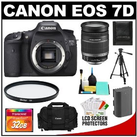 Canon EOS 7D 18.0 MP Digital SLR Camera Body (Outfit Box) & EF-S 18-200mm IS Lens with 32GB Card + Battery + Case + Tripod + UV Filter + Cleaning Accessory Kit