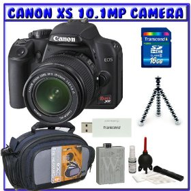 Canon EOS Rebel XS (a.k.a. 1000D) SLR Digital Camera Kit w/ 18-55mm IS Lens + Spare LP-E5 Battery + 16GB + Beginners Essentials K#2