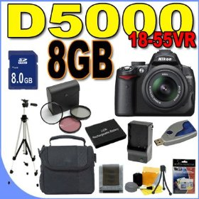 Nikon D5000 12.3 MP DX Digital SLR Camera w/ 18-55mm f/3.5-5.6G VR Lens and 2.7-inch Vari-angle LCD BigVALUEInc Accessory Saver 8GB Battery/Filters Bundle