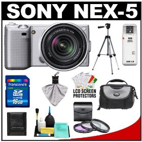 Sony Alpha NEX-5 Digital Camera Body & E 18-55mm OSS Compact Interchangeable Lens (Silver) with 16GB Card + Battery + Case + Tripod + Accessory Kit