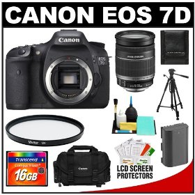 Canon EOS 7D 18.0 MP Digital SLR Camera Body (Outfit Box) & EF-S 18-200mm IS Lens with 16GB Card + Battery + Case + Tripod + UV Filter + Cleaning Accessory Kit
