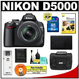 Nikon D5000 Digital SLR Camera w/ 18-55mm VR Lens + 16GB Memory Card + Spare EN-EL9 Battery + Case + Cameta Bonus Accessory Kit